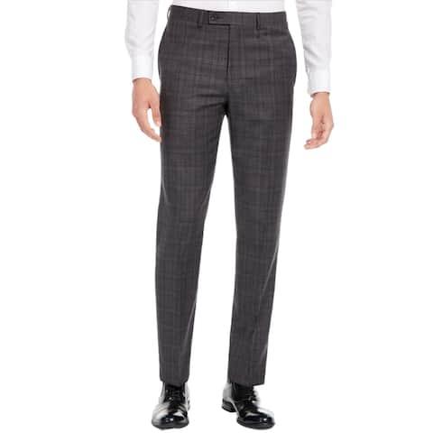Calvin Klein Men's X Slim-Fit Stretch Plaid Suit Pants, Grey, 40x30