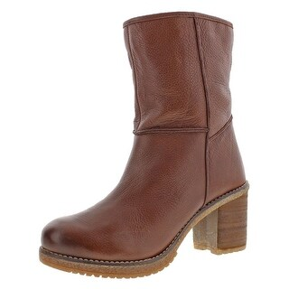 Naughty Monkey Womens Arctic Mid-Calf Boots Leather Stacked Heel