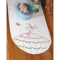 """Stamped Perle Edge Dresser Scarf 15""""X42""""-Butterfly Lady"""