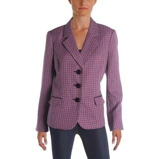 Le Suit Womens St Augustine Three-Button Blazer Tweed Textured