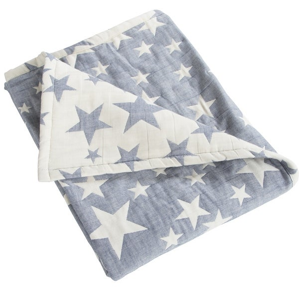 """NTBAY Super Soft 3 Layer Muslin 100% Muslin Cotton Baby Blanket, Warm and Cozy Blanket-Star & Owl & Carriage Pattern (30"""" x 40""""). Opens flyout."""