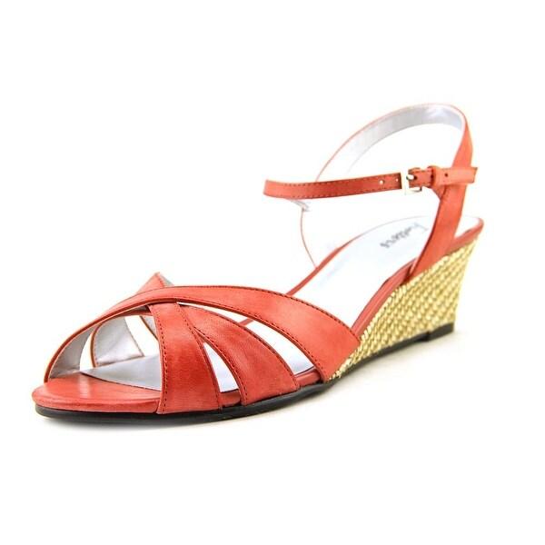 Trotters Mickey Women W Open Toe Leather Red Wedge Heel