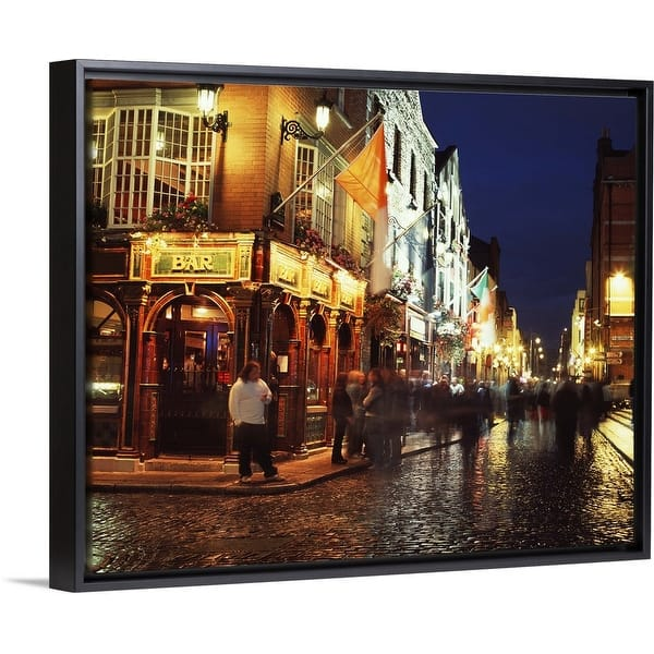 Shop Black Friday Deals On People On The Street In Temple Bar In Dublin Ireland Black Float Frame Canvas Art Overstock 25512110