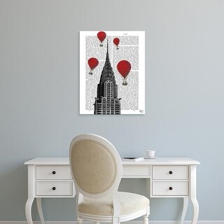 Easy Art Prints Fab Funky's 'Chrysler Building and Red Hot Air Balloons' Premium Canvas Art