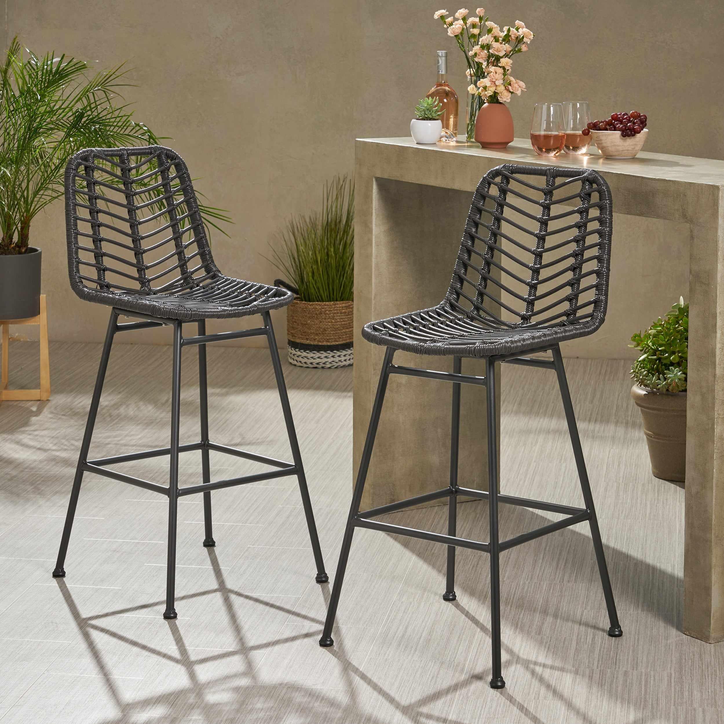 Set of 2 BOWERY HILL Outdoor Wicker Bar Stools in Espresso