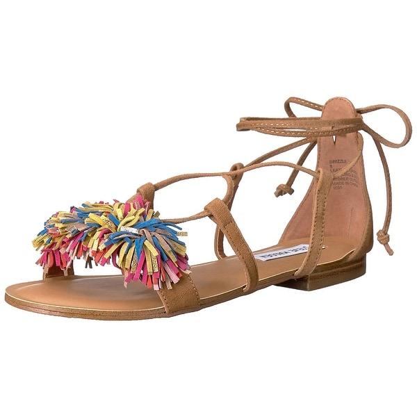 Steve Madden Womens Swizzle Leather Open Toe Casual Strappy Sandals