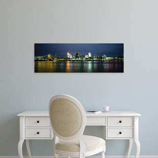 Easy Art Prints Panoramic Image 'Buildings at the waterfront lit up at night, Ohio River, Cincinnati, Ohio' Canvas Art
