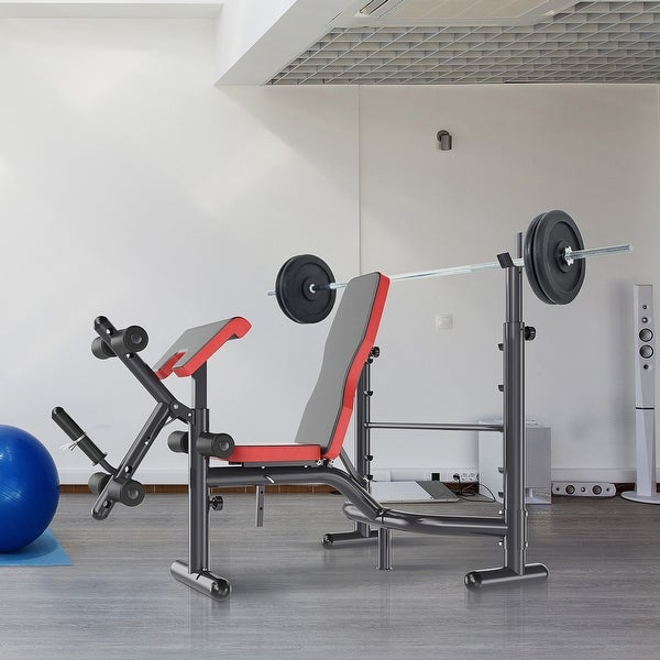 Soozier Heavy Duty Weight Bench Multiple Function Workout Bench with Preacher Curl, Leg Developer. Opens flyout.