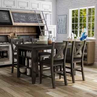 Link to Furniture of America Blye Rustic Grey 5-piece Counter Dining Set Similar Items in Dining Room & Bar Furniture