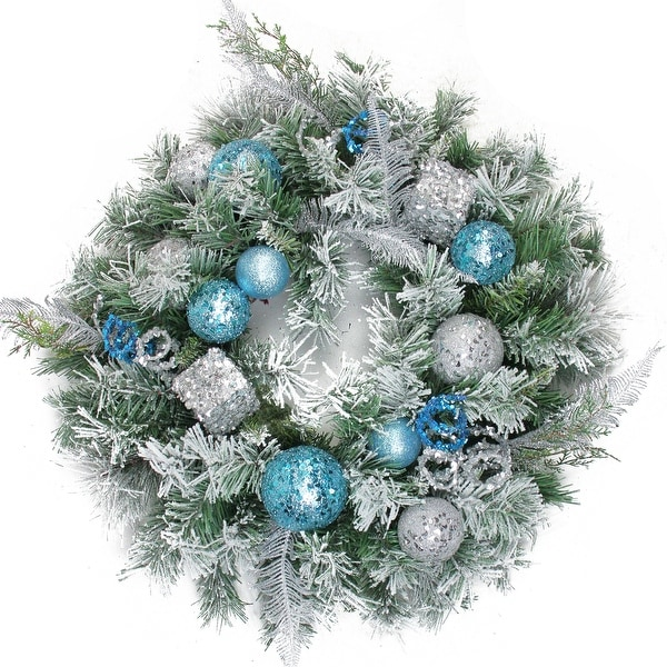 """24"""" Blue and Silver Sequin Ornaments Artificial Flocked Pine Christmas Wreath - Unlit"""