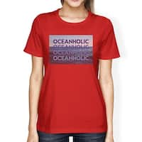 Ocean Holic Womens Short Sleeve Graphic T-Shirt Cotton Round Neck