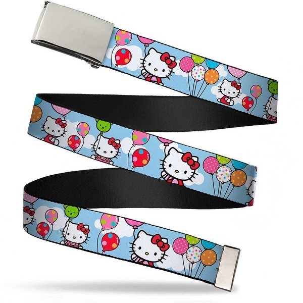 Blank Chrome Bo Buckle Hello Kitty In Clouds Holding Balloons Webbing Web Belt