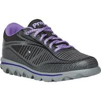 Propet Women's Billie Lace Walking Shoe Black/Purple Mesh