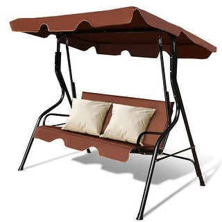 Costway 3 Seats Patio Canopy Swing Glider Hammock Cushioned Steel Frame Backyar Coffee