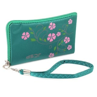 Unique Bargains L Shaped Floral Printed Zip Up Green Phone Purse Wrist Bag Holder w Strap