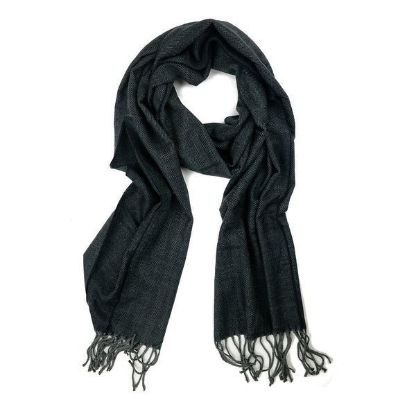 "Super Soft Luxurious Classic Cashmere Feel Winter Scarf - D. Grey -  72""x12"" with 3"" fringes"