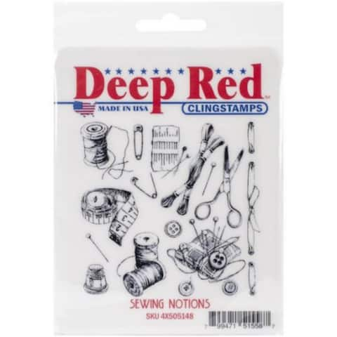 Deep Red Stamps Sewing Notions Background - 3 x 3