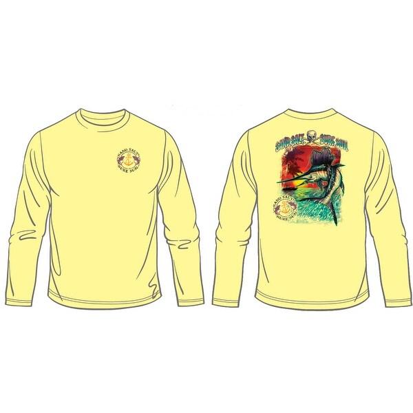 Altered Latitudes Mens Jumpin Sailfish T-Shirt, Pale Yellow, L