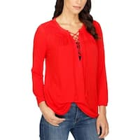 Lucky Brand Womens Casual Top Lace-Up Embroidered