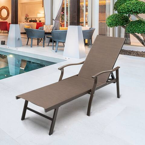 """Outdoor Recliner All Weather Aluminum Adjustable Chaise Lounge Chair - 76.18"""" L x 21.06"""" W x 13.58"""" H"""