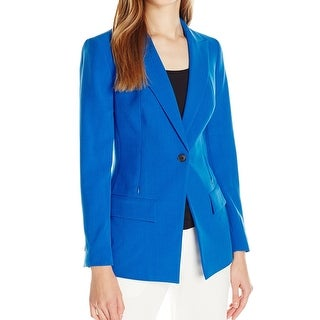 Anne Klein NEW Blue Women's Size 10 One Button Zipper Trim Blazer
