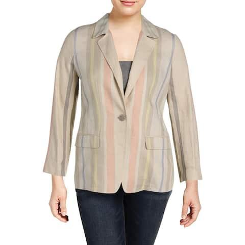 Lafayette 148 New York Womens One-Button Blazer Linen Boyfriend