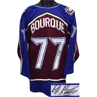 Ray Bourque signed Maroon & Blue TB Custom Stitched Hockey Jersey #77- JSA Hologram