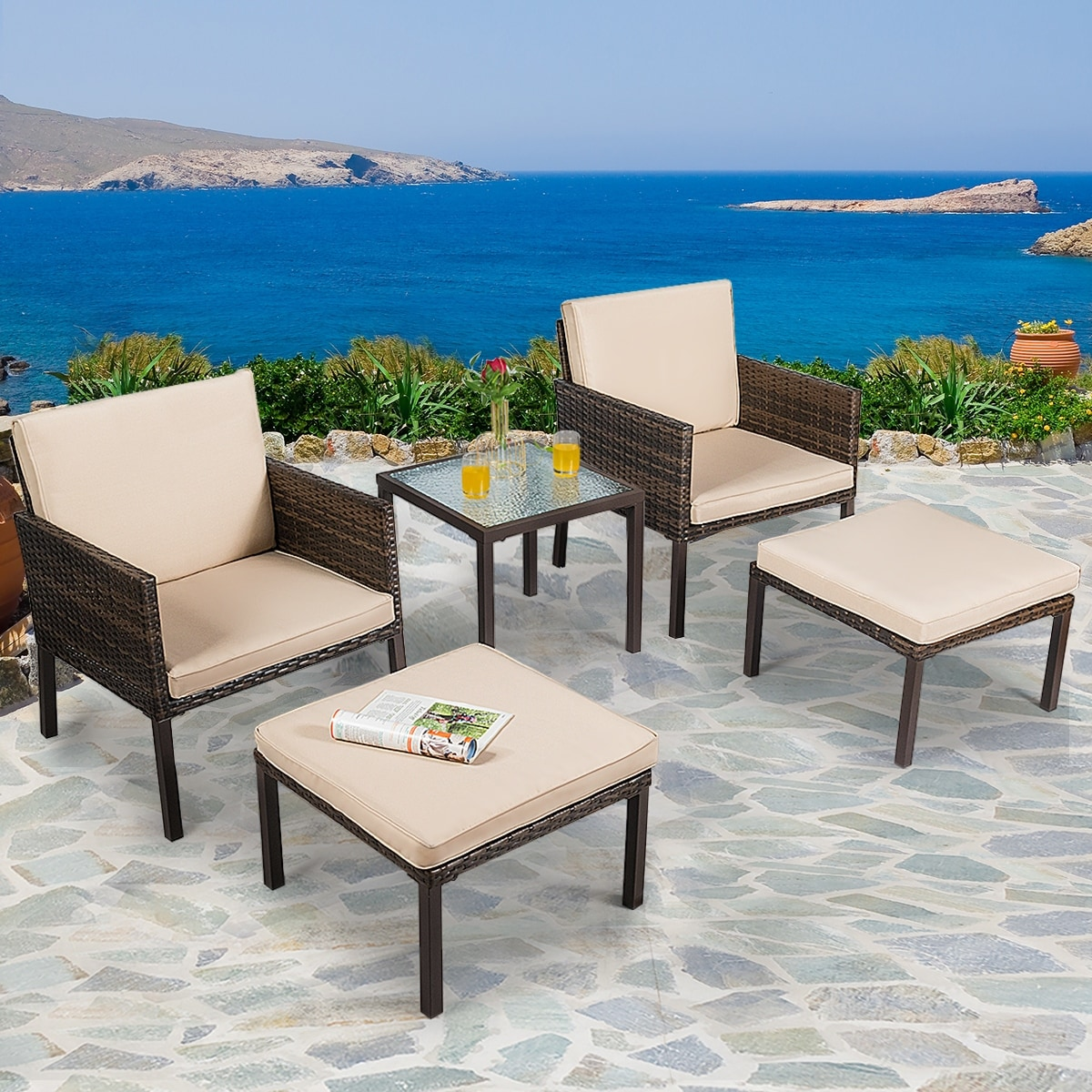 Costway 5pcs Rattan Patio Furniture Set Chairs Ottoman Cushioned Overstock 28783085