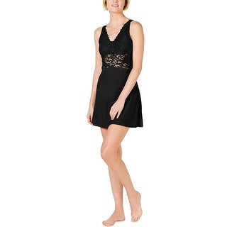 Link to INC Women's Ultra Soft Lace Detail Knit Chemise Nightgown, Black, L Similar Items in Intimates