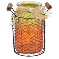 """7.25"""" Decorative Harvest Orange and Yellow Glass Jar with Wire Caddy"""