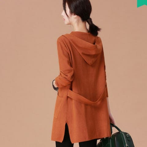 2019 Women's Spring New Long Hooded Knit Cardigan