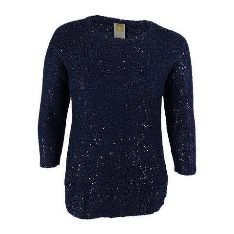 Anne Klein Women's Sequined 3/4 Sleeves Sweater