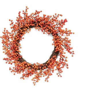 """14"""" Autumn Harvest Decorative Artificial Red and Orange Fall Berry Wreath - Unlit"""