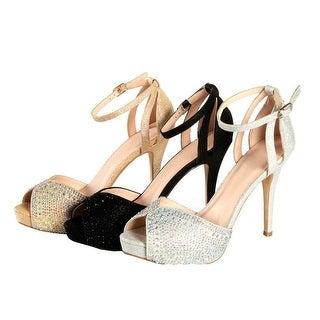Sweetie's Shoes Black Ankle Strap Sparkle Peep-toe Elegant Pumps