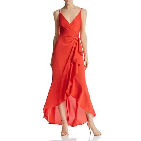 BCBG Max Azria Womens Evening Dress Satin Faux-Wrap - Bright Red