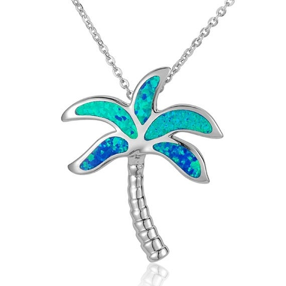 """Palm Tree Necklace Opal Sterling Silver Pendant 18"""" Chain"""