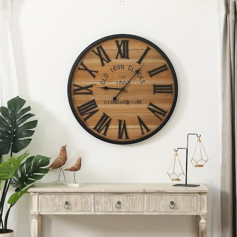 "Wood Plank Metal Framed Wall Clock - 30"" Diameter"