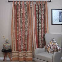 Handmade 100% Cotton Tab Top Curtain Drape Panel Floral Vine Olive Rust - 44 inches x 88 inches