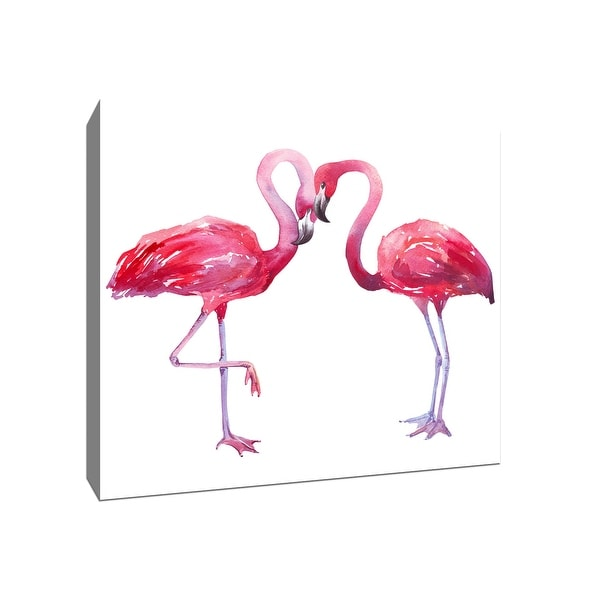 Two Flamingos - Tropical Art - 16x16 Gallery Wrapped Canvas Wall Art