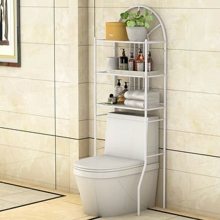 Costway 3 Shelf Over The Toilet Bathroom Space Saver Towel Storage