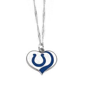 Indianapolis Colts NFL Glitter Heart Necklace Charm Gift