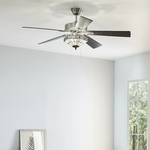 """Reya River of Goods White and Aqua Wood and Metal Stained Glass 52-inch Ceiling Fan - 52"""" x 52"""" x 15""""/20"""""""