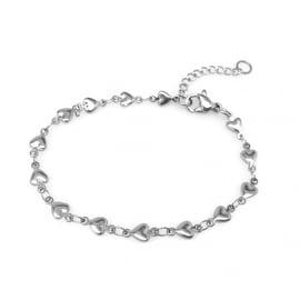 Loralyn Designs Stainless Steel Heart Chain Bracelet Adjustable (7.25 - 8.5 inch)