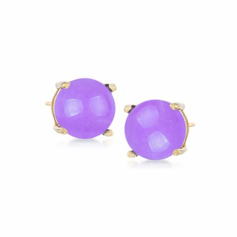 18K Yellow Plating Over Sterling Silver 8mm Round Genuine Gemstone Stud Earrings