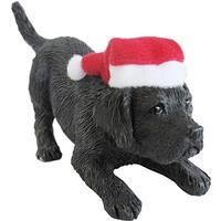 Black Labrador Retriever With Santa Hat Christmas Ornament Sculpture
