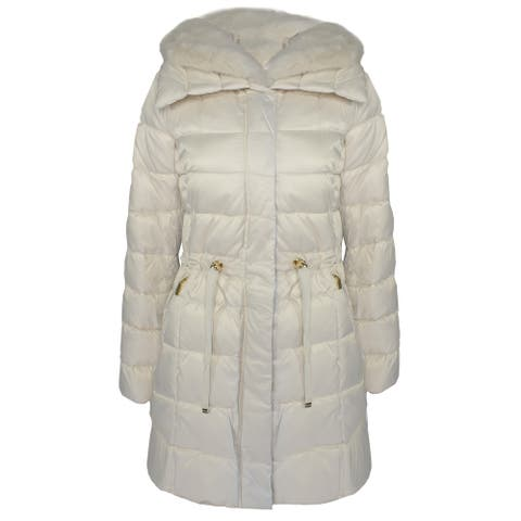Laundry by Shelli Segal Women's Quilted Faux Fur Puffer Jacket, New Pearl
