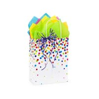 """Pack Of 250, Cub 8.25 x 4.75 x 10.5"""" Rainbow Confetti Recycled Shopping Bags Made In Usa"""