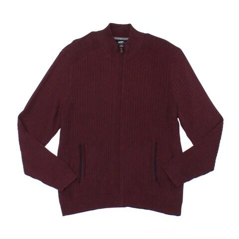 Alfani Port Red Mens Size Large L Ribbed Full Zip Knit Sweater