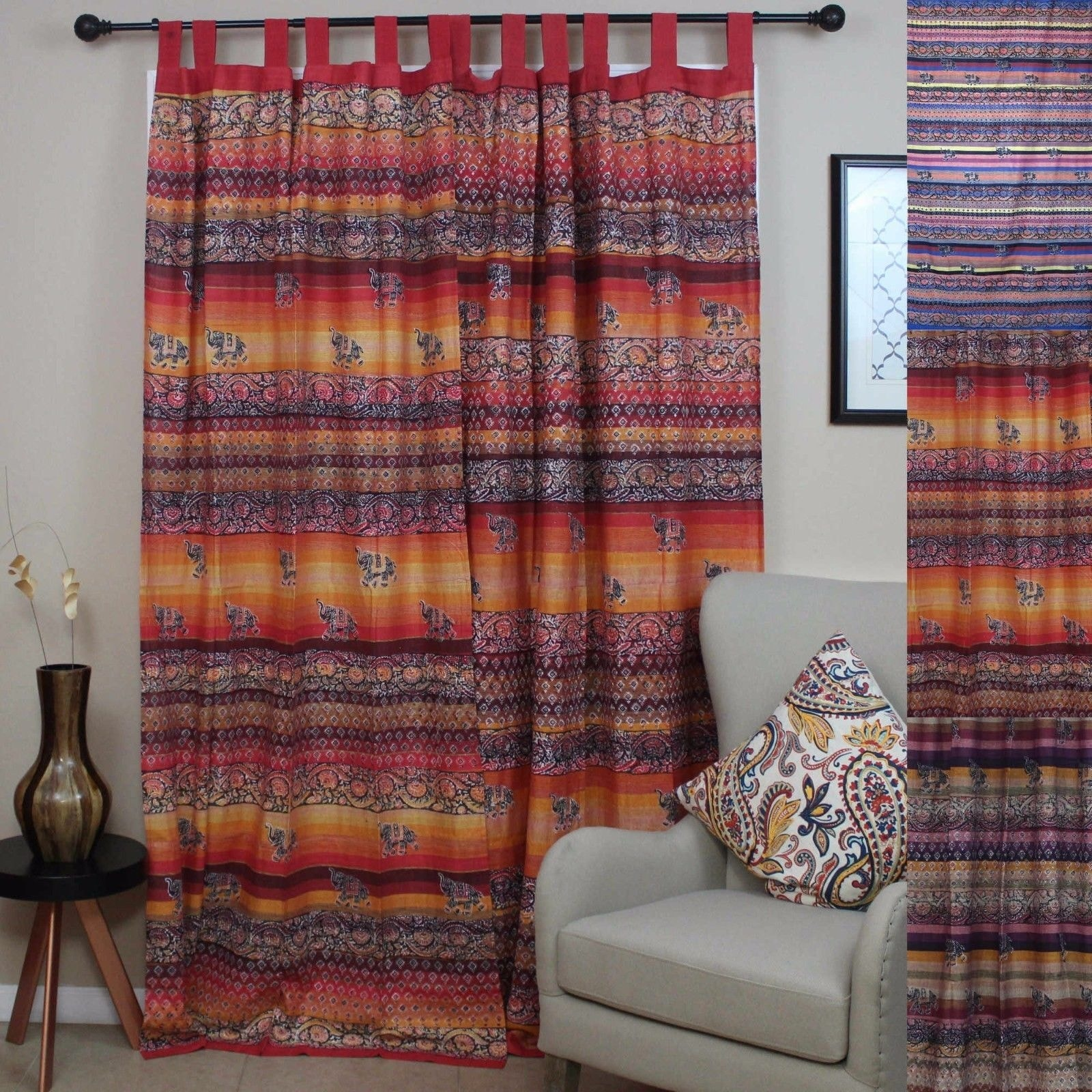 Handmade Cotton Tab Top Curtain Drape Panel Paisley Good Luck Elephant Available in 3 colors - Cranberry Red Blue & Orange - Thumbnail 0