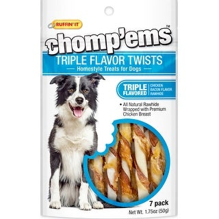 Ruffin' It Chomp'ems Triple Flavor Twists 7/Pkg 1.75Oz-Chicken, Bacon & Rawhide
